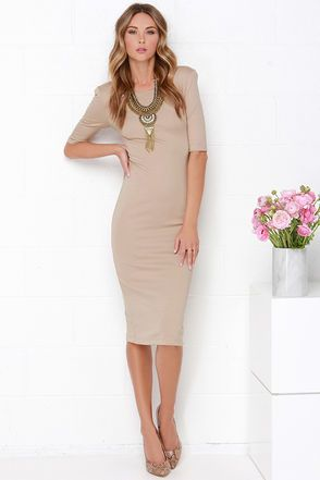 Cute Beige Dress - Midi Dress - Bodycon Dress - Cocktail Dress -  44.00 00191eb01