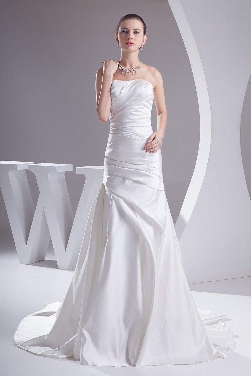Elegant mermaid strapless ruched satin wedding dress