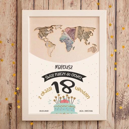 Prezent Mapa Swiata Na Pieniadze Na 18 Urodziny Presents Gifts Home Decor Decals