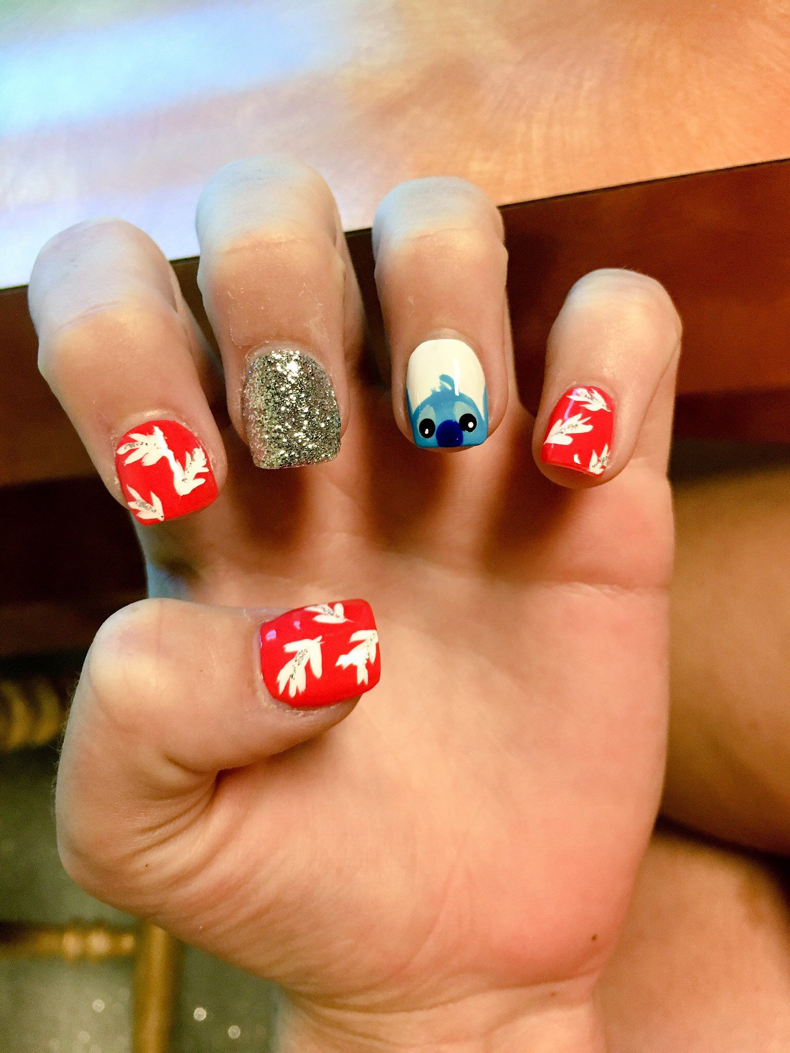 Lilo And Stitch Disney Acrylic Nails Disney Acrylic Nails Nail Designs New Nail Designs