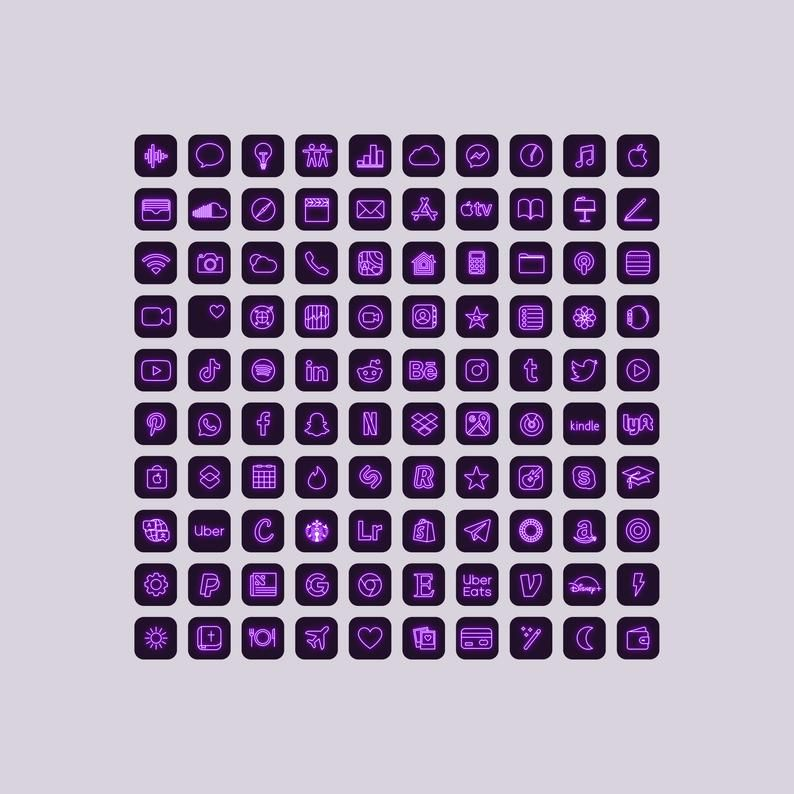 100 purple neon app icons neon aesthetic ios 14 icons