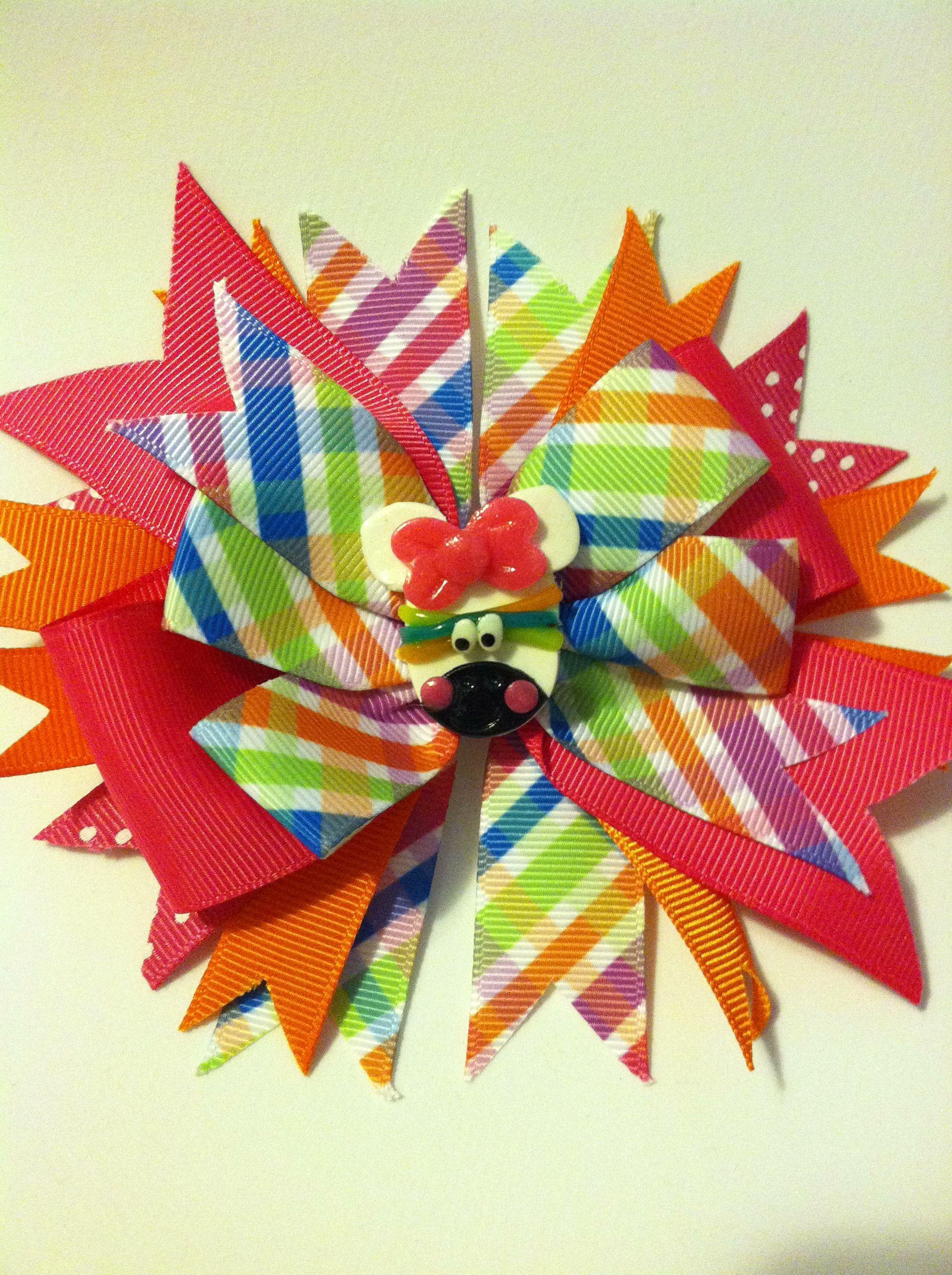 Colorful zebra bow marilunaus q bows pinterest