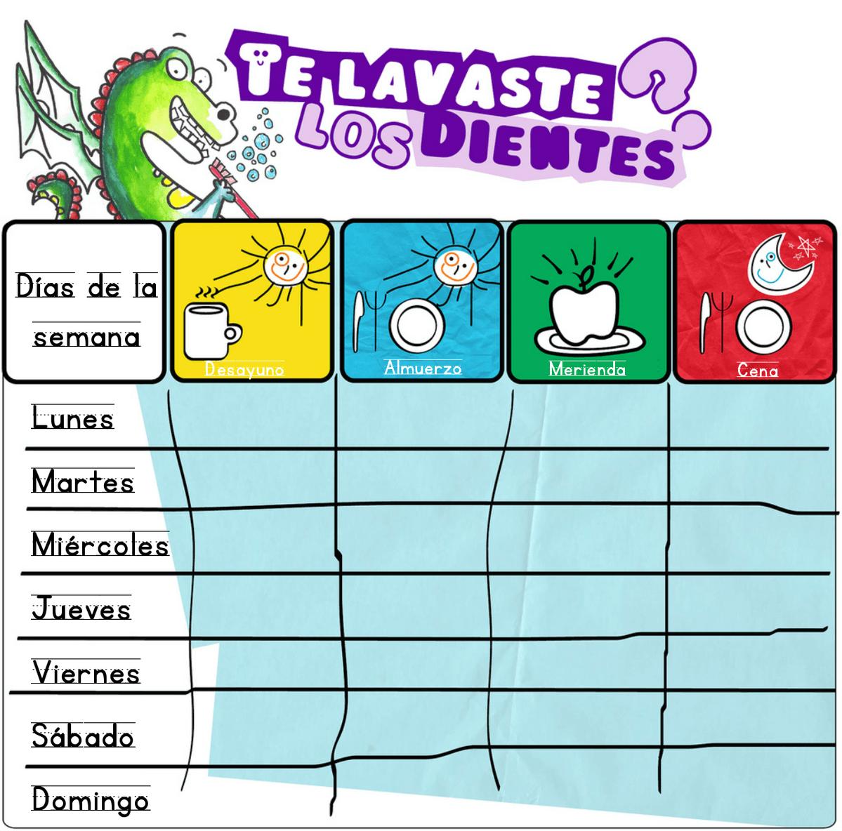 FICHA DE REGISTRO LAVARSE LOS DIENTES  601d61123283