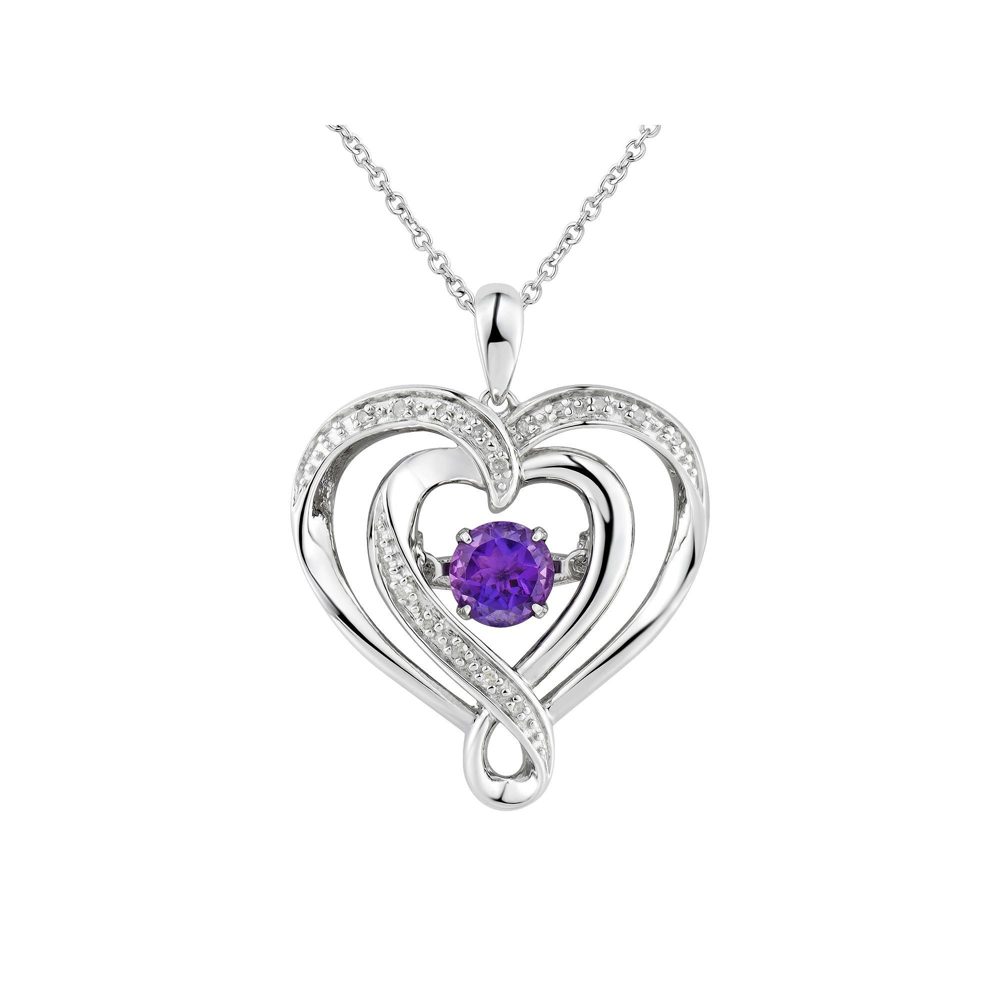 Two hearts forever one amethyst diamond accent sterling silver two hearts forever one amethyst diamond accent sterling silver floating heart pendant necklace womens size 18 purple mozeypictures Image collections