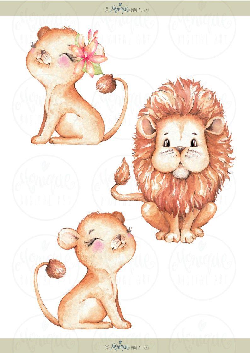 Cute Lions Clipart Watercolor Jungle Animals Clipart Monique Digital Art Lion Family Palm Trees Animals Clipart Watercolor Baby Lion Animal Clipart Lion Cartoon Drawing Lion Family