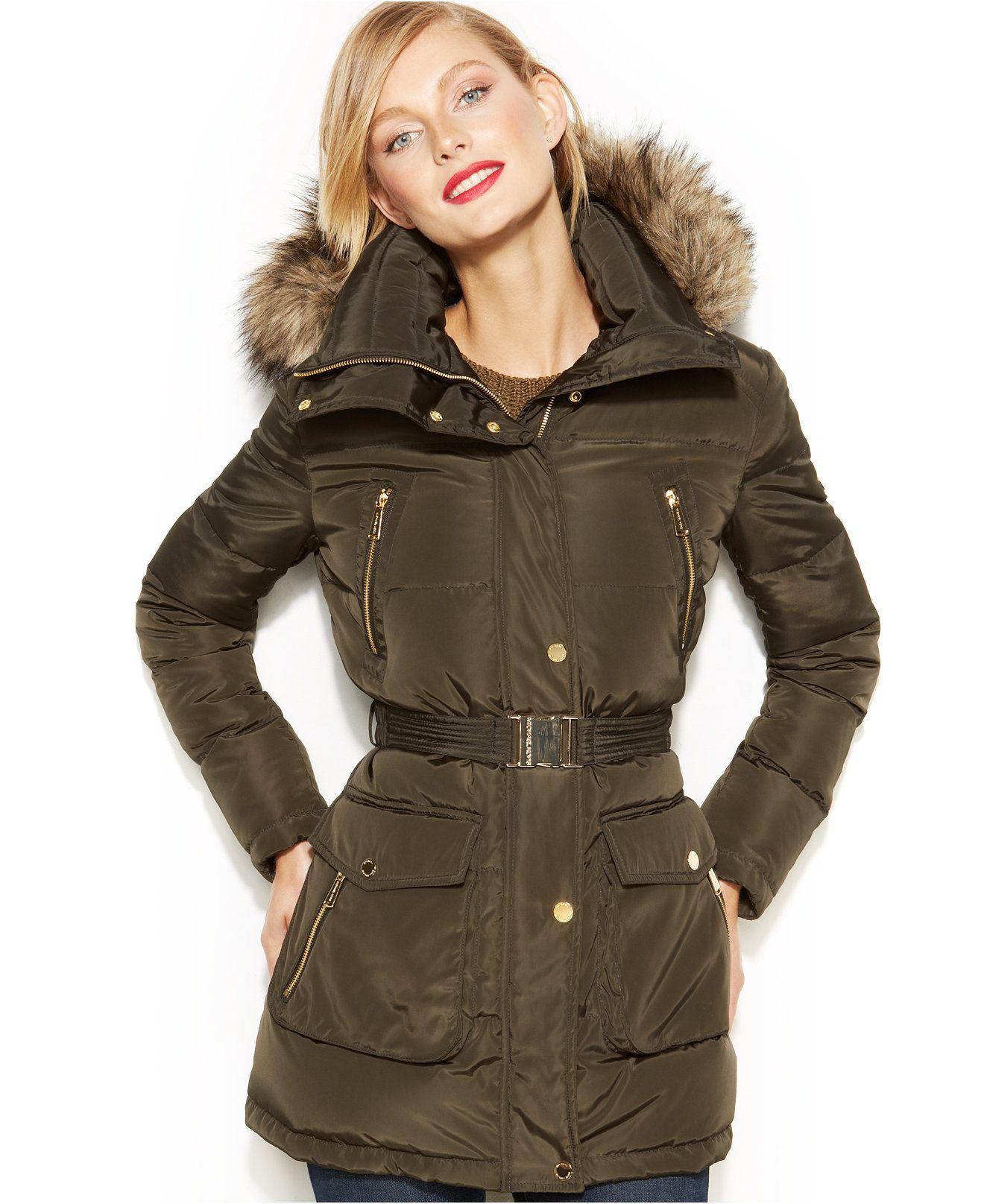 e368d58e6d39e MICHAEL Michael Kors Hooded Faux-Fur-Trim Down Puffer Coat - Coats - Women  - Macy s