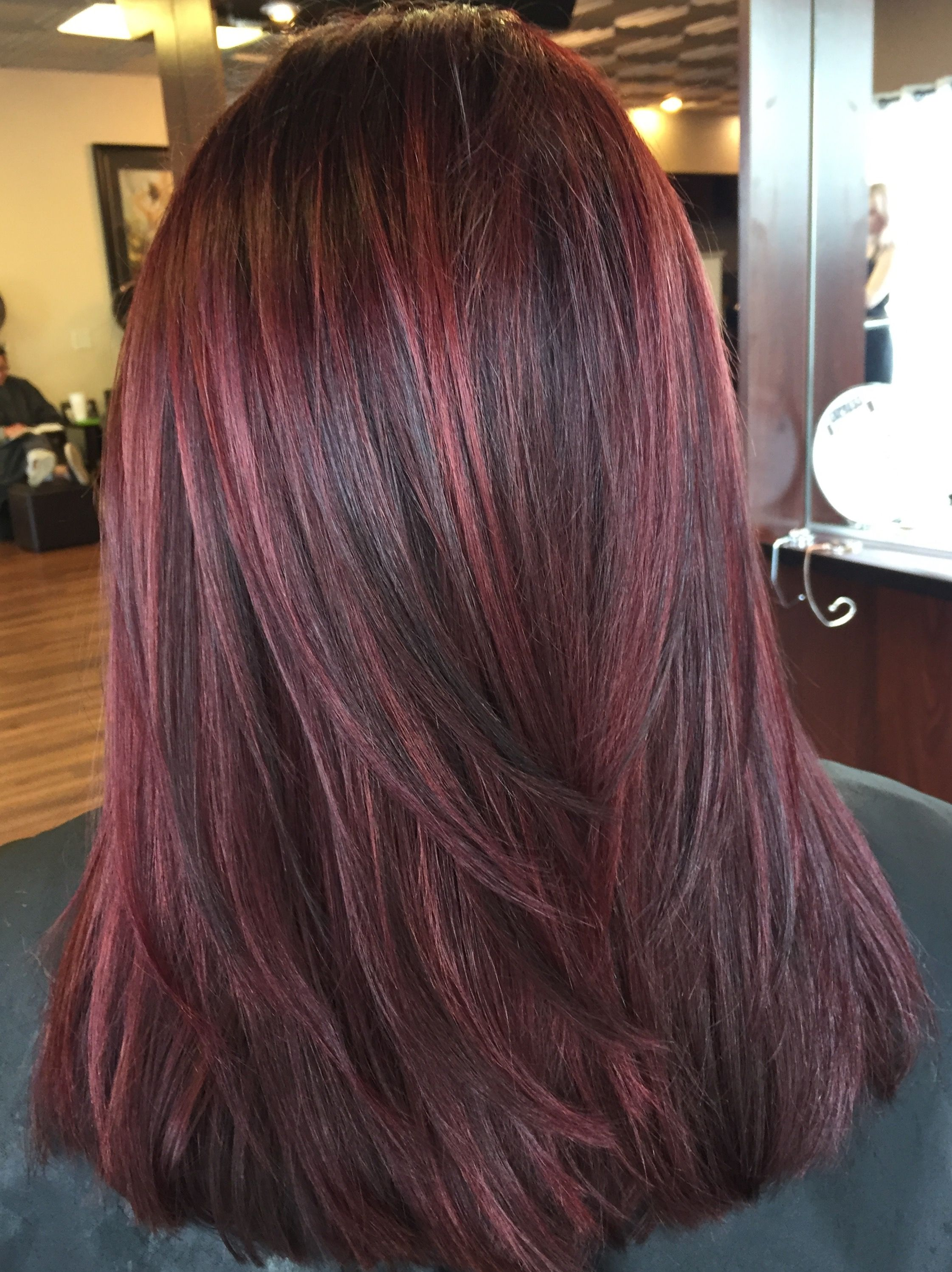 Reds Lowlights Dimensional Red Red Highlights In Brown Hair Hair Color Burgundy Brunette Hair Color
