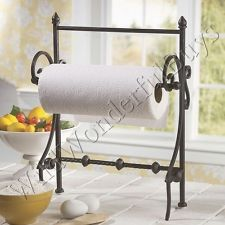 French Country Wrought Iron Free Standing Paper Towel Holder Tuscan Black New