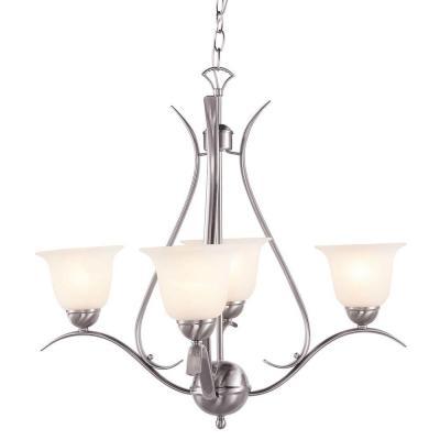 Bel Air Lighting Stewart 4-Light Brushed Nickel CFL Ceiling Chandelier