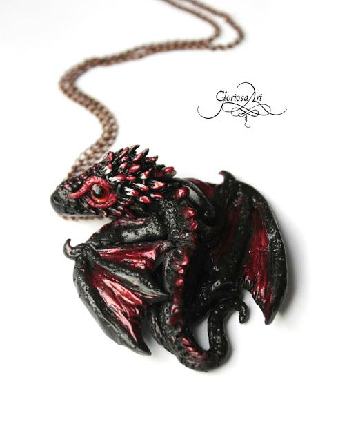 Tiny Drogon Baby Dragon - Dragon Pendant - cute baby dragon necklace - dragon jewelry - dragon necklace - targaryen jewelry - game of thrones - by GloriosaArt