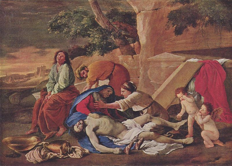 "Matthew 27:59, ""And when Joseph had taken the body, he wrapped it in a clean linen cloth,""; Lamentation of Christ by Nicolas Poussin"
