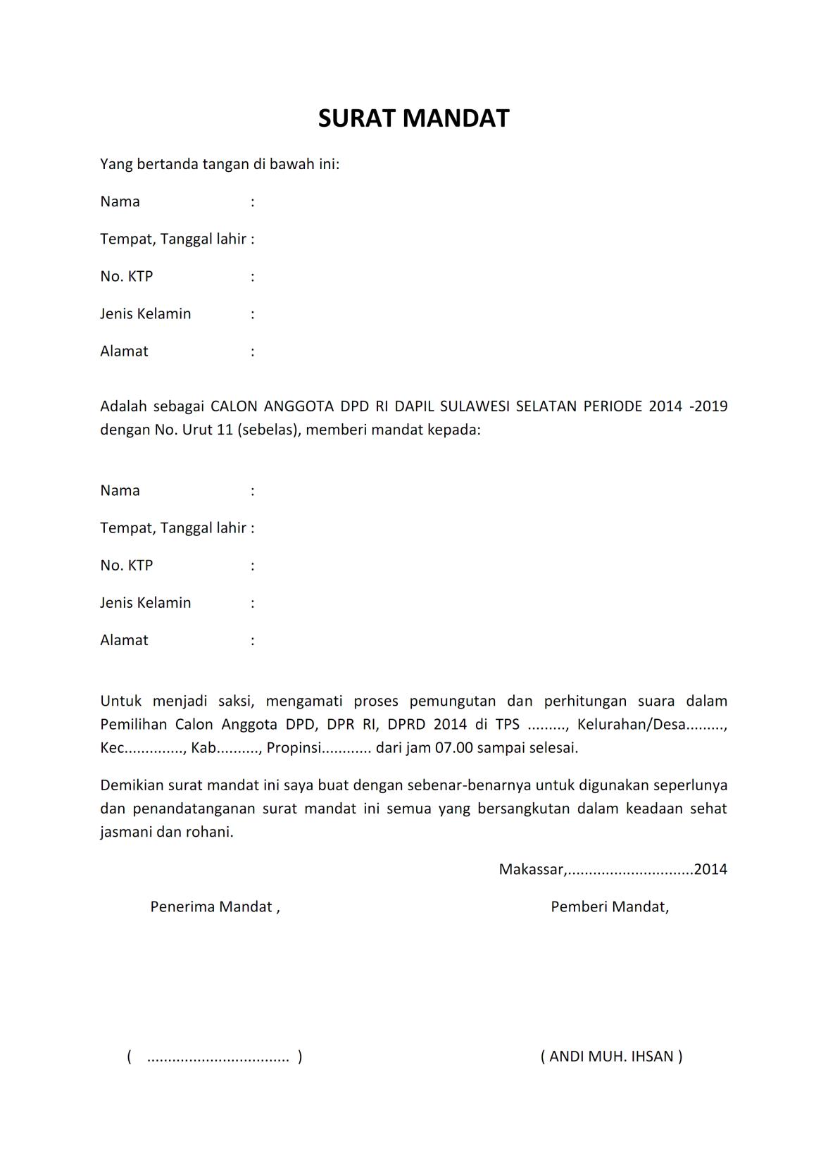 Contoh Surat Mandat : contoh, surat, mandat, SURAT, MANDAT, PEMLU, Tanda,, Berat, Badan,, Tanggal
