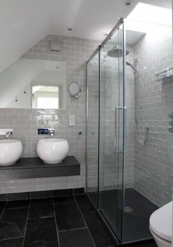 Une salle de bains grise l gance et chic contemporain - Modele salle de bain gris et blanc ...