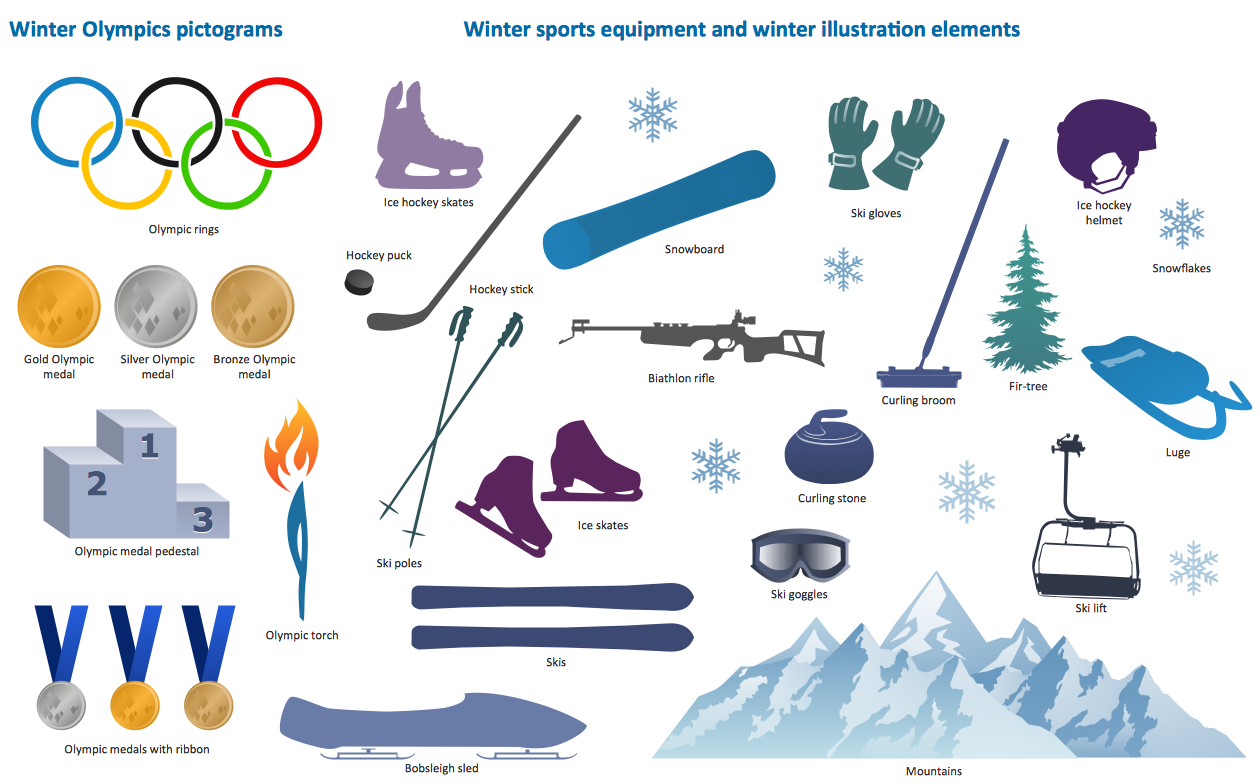 hight resolution of design elements winter olympics pictograms