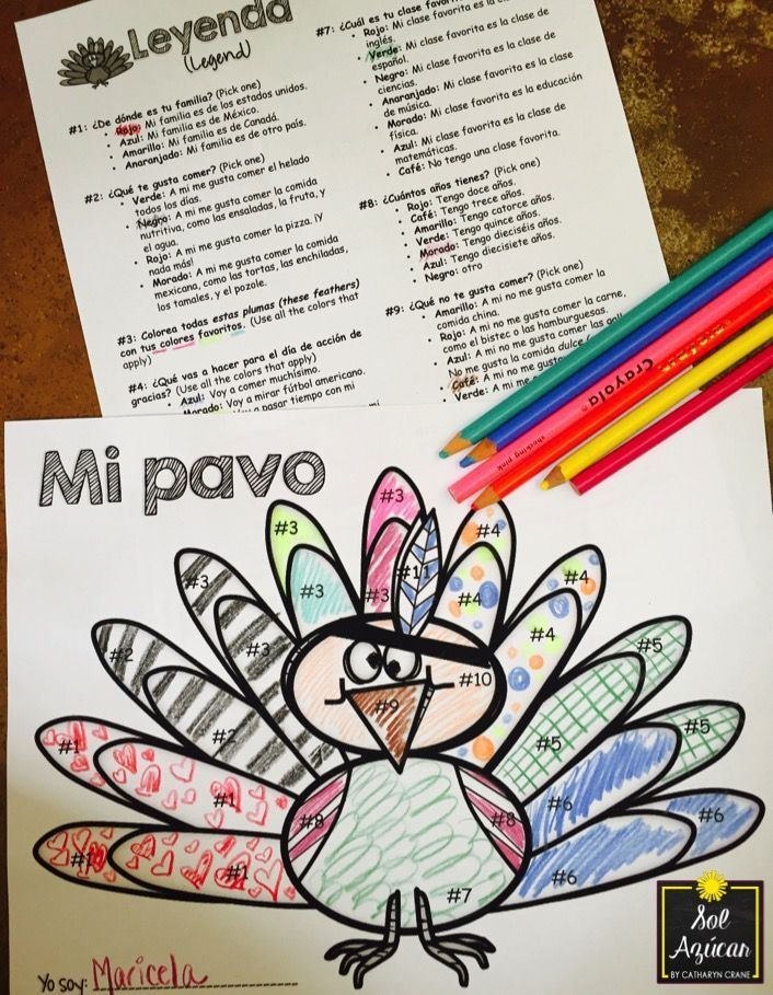 Spanish Thanksgiving Turkey Glyph - Read and Color - Beginning Level ...