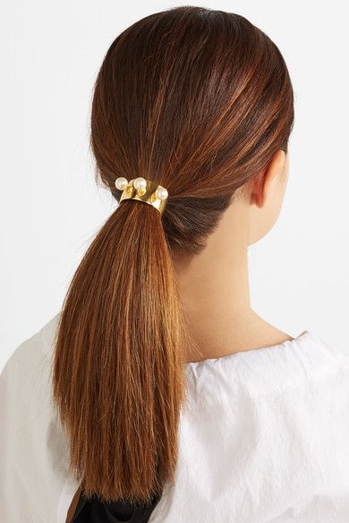 Jennifer Behr - Gold-plated Swarovski pearl hair tie  d4633224ee6