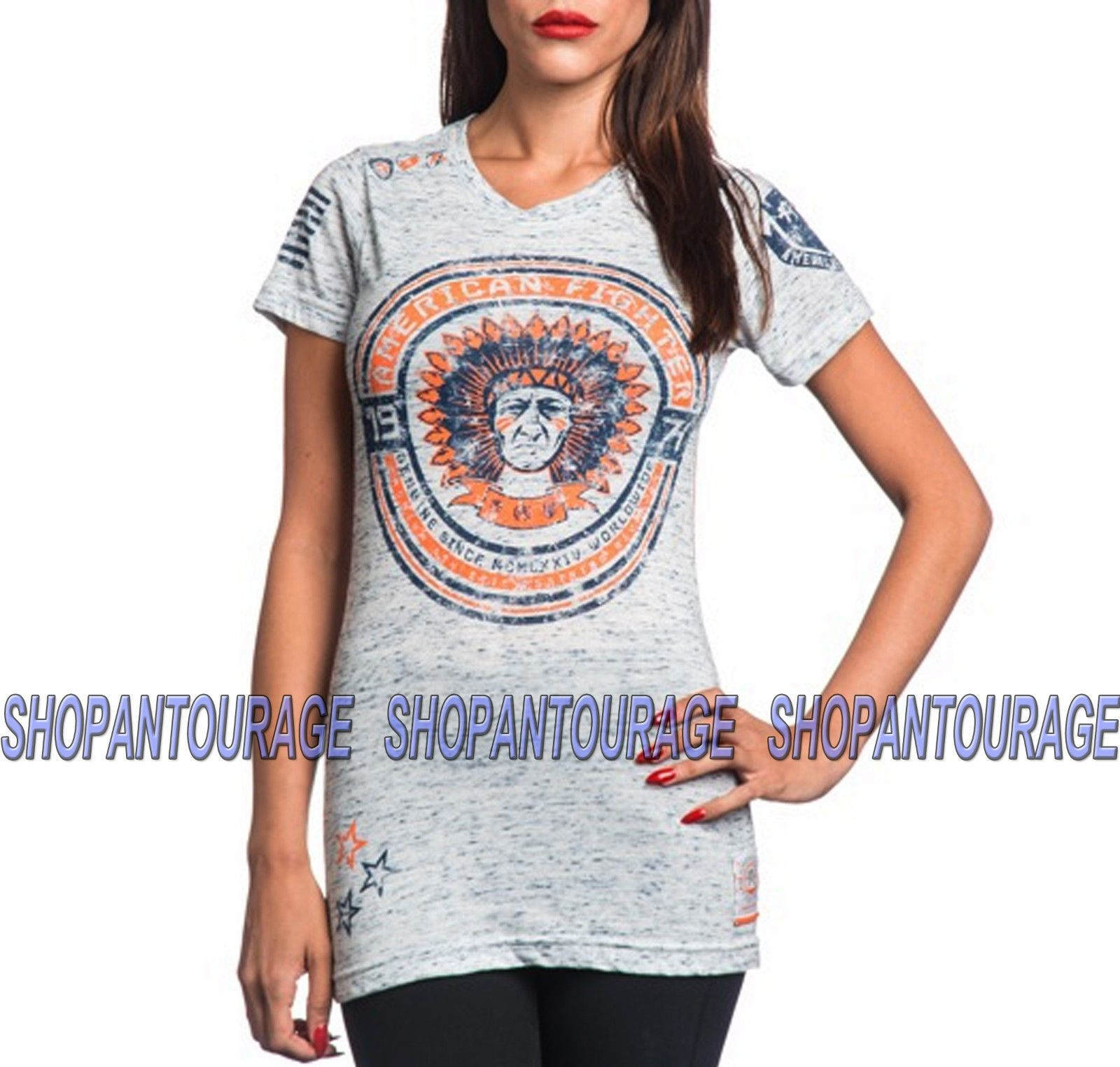 American Fighter Becket Tech FW6187 Women`s New Grey T-shirt By Affliction
