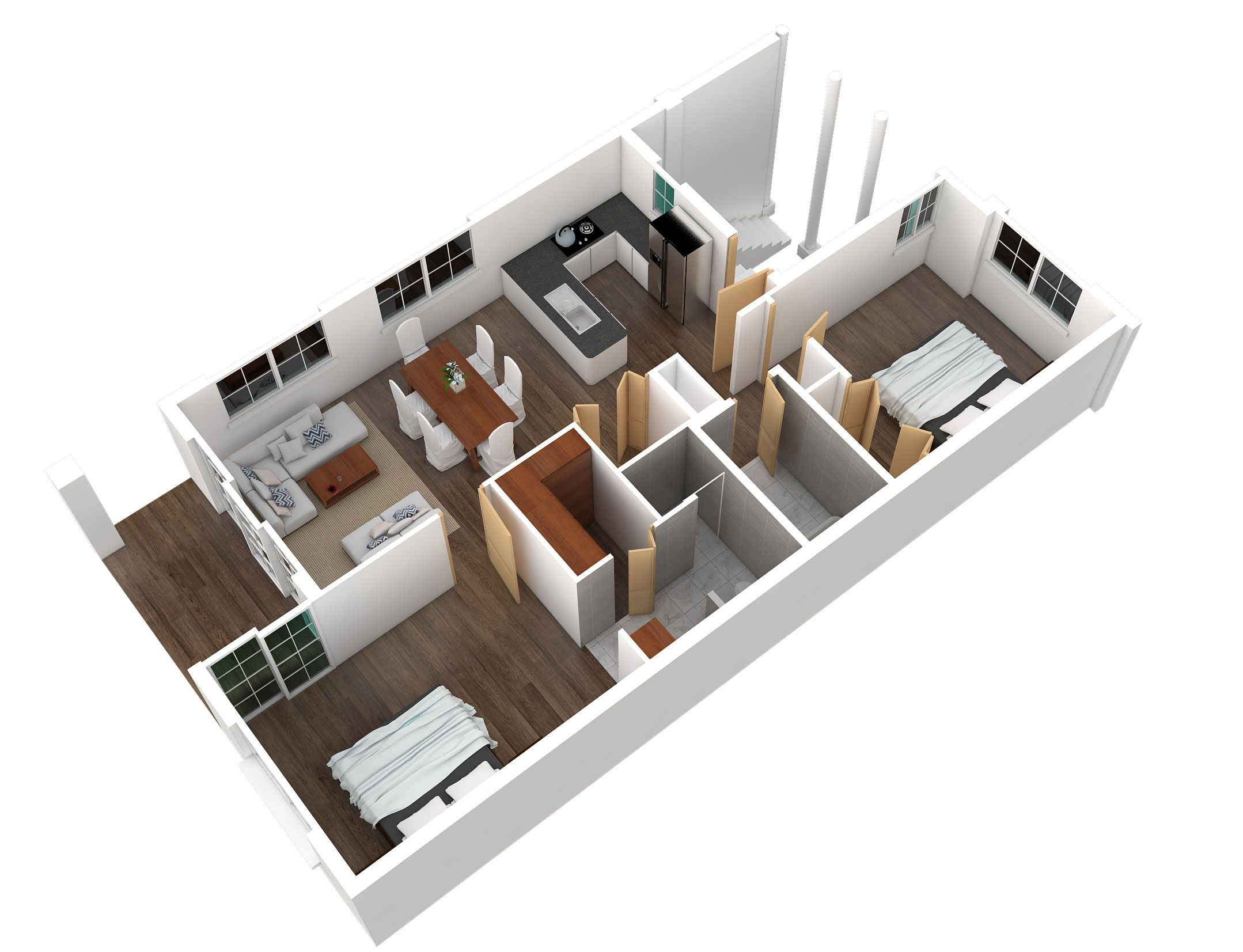 3-d layout two bedroom floorplan courtside villas boca raton
