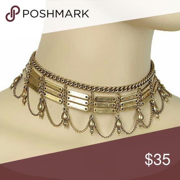 Trendy Choker Bar & T- Drop Dangle Choker.  Lobster Clasp Jewelry Necklaces