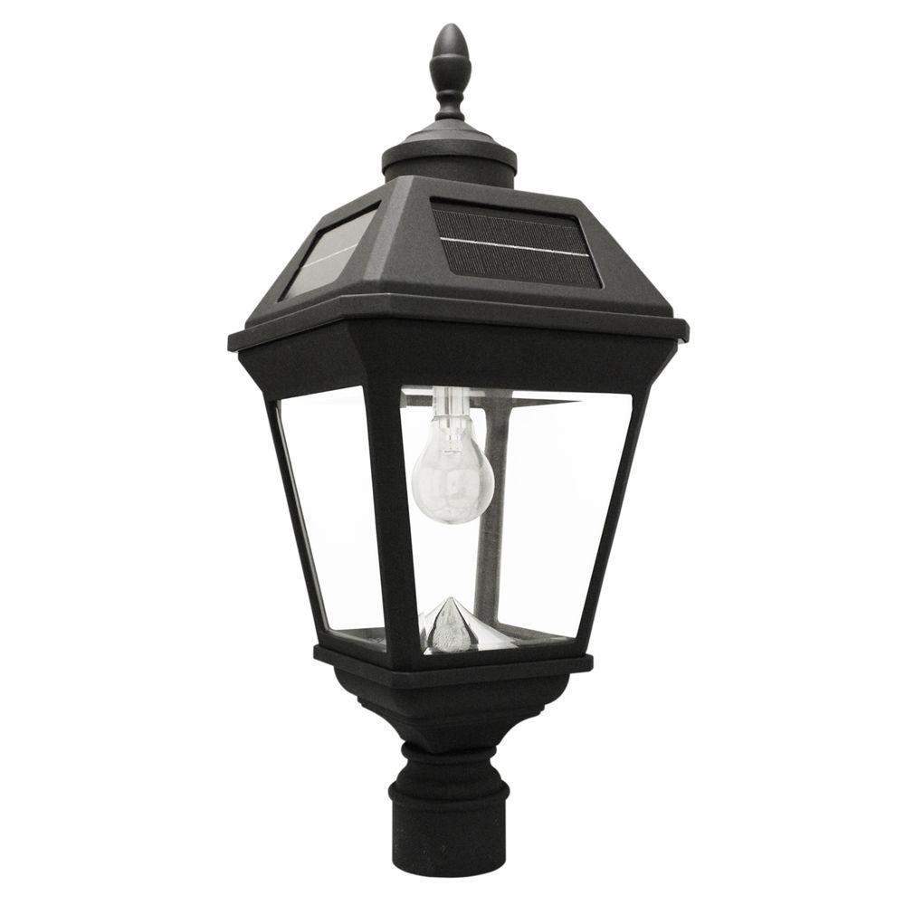 imperial bulb series single black integrated led solar post light