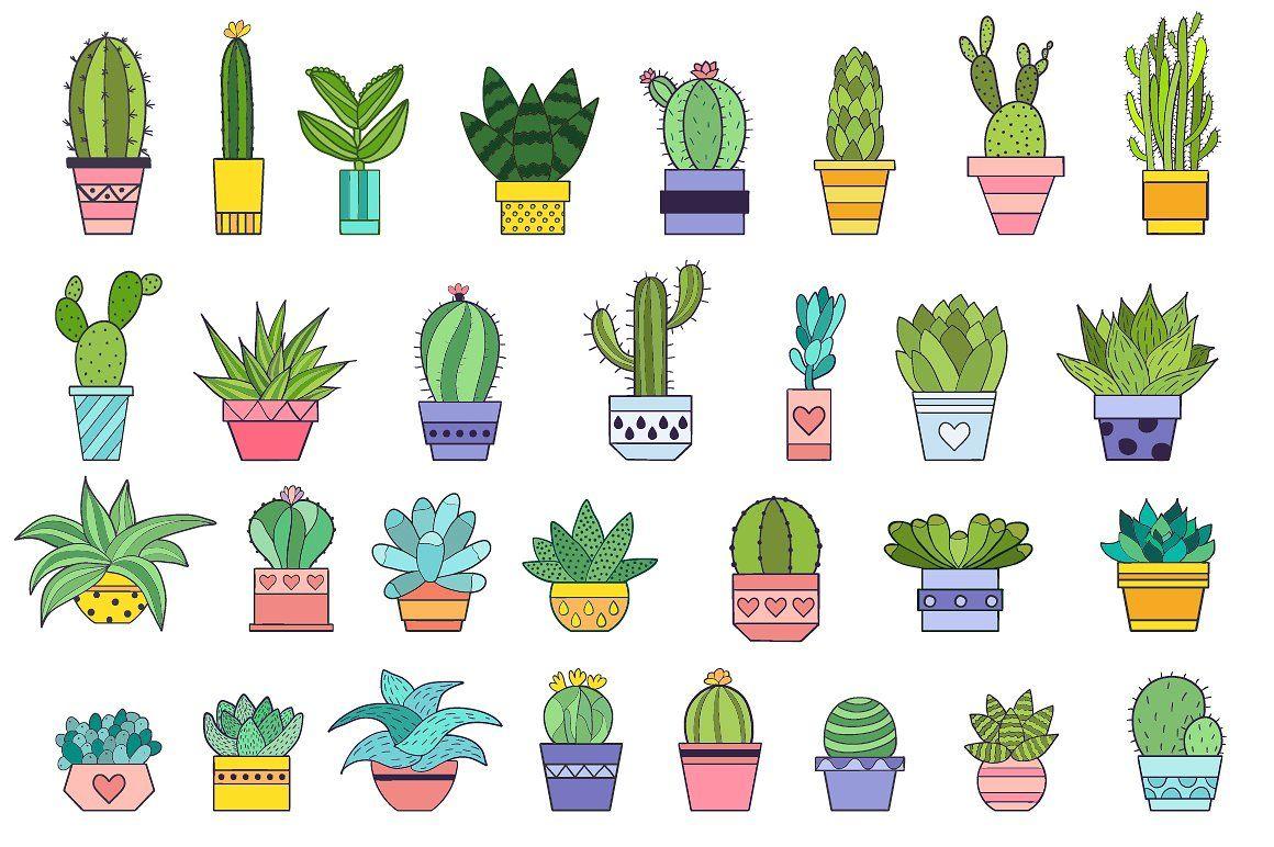милые картинки кактусы для распечатки