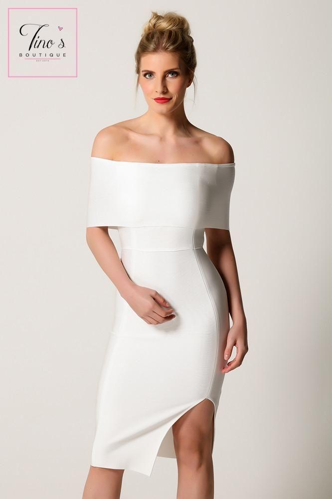 8c2c60e6031c  Hallie  White Bardot Bandage Dress.