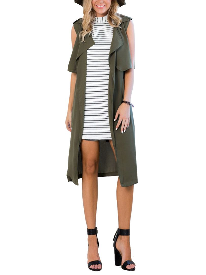 army green tie waist drape front sleeveless trench coat choies fashion pinterest sleeveless trench coat green tie and army green