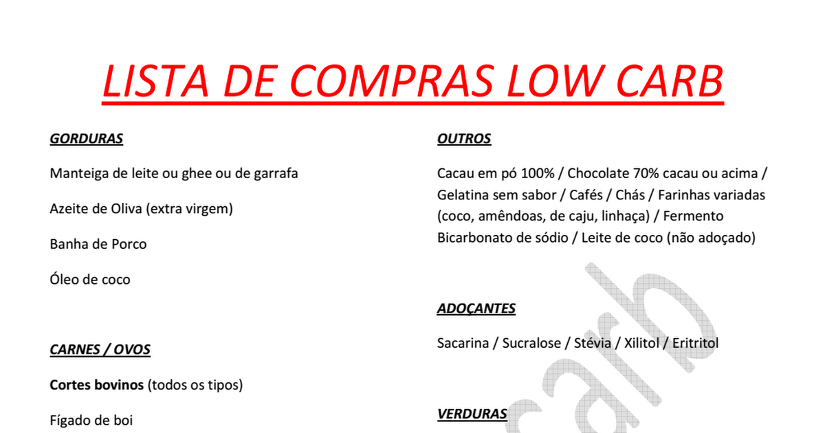 Dieta low carb alimentos permitidos lista