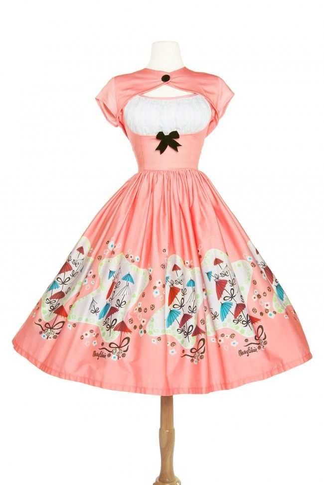 Cute 50s style tea length dress in pin up pink vintage Mary Blair ...
