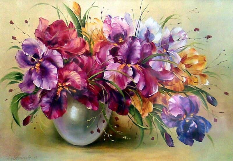 Букет с ирисами | Раскраска по номерам, Фиолетовые цветы ...