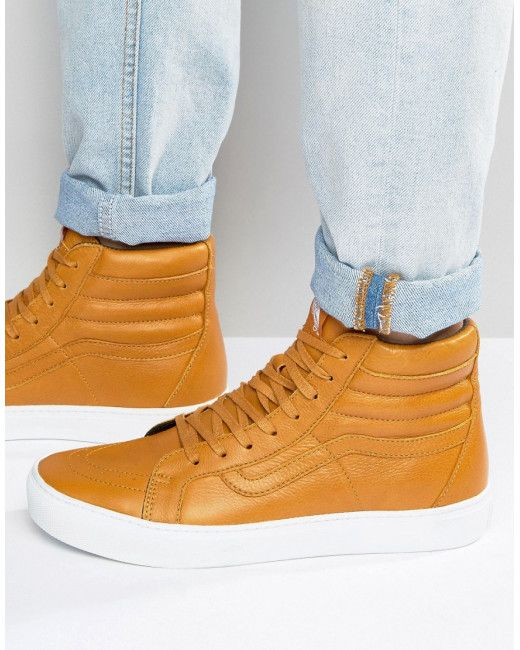 1d9e83767a7838 Men s Brown Sk8-hi Cup Leather Trainers In Red Va2z5xjyq