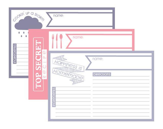 fontaholic freebie friday recipe cards  printable
