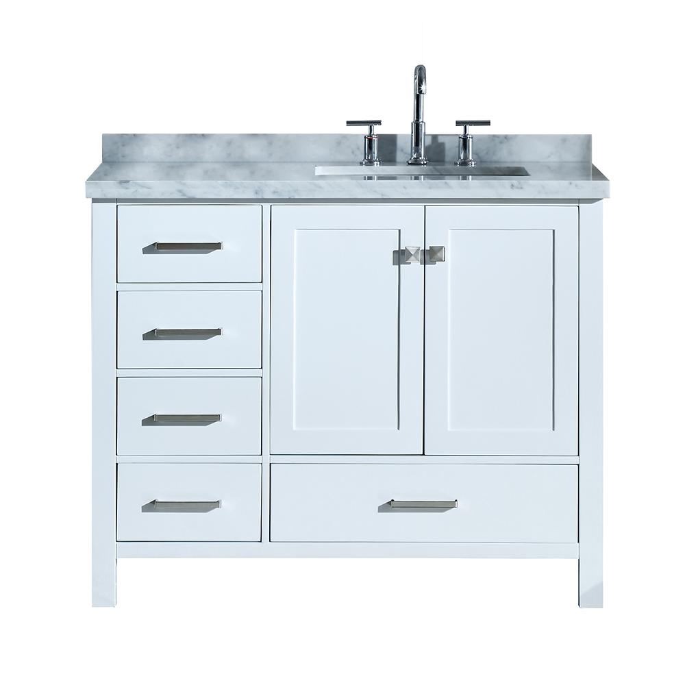 Ariel Cambridge 43 In Bath Vanity In White With Marble Vanity Top In Carrara White With White Basin A043srcwrvowht The Home Depot In 2021 Marble Vanity Tops Single Sink Bathroom Vanity