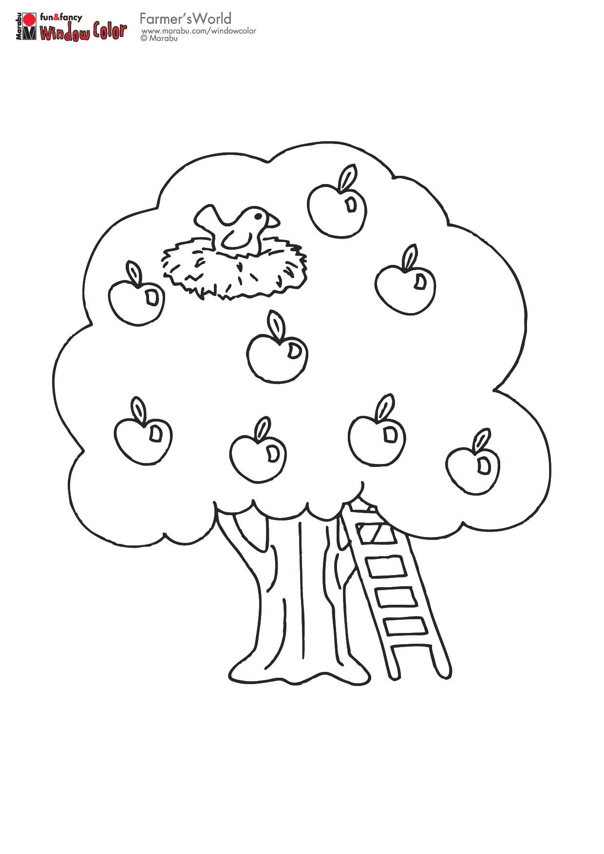 Apple Tree With Bird S Nest Tree Coloring Page Fall Coloring Pages Apple Coloring Pages