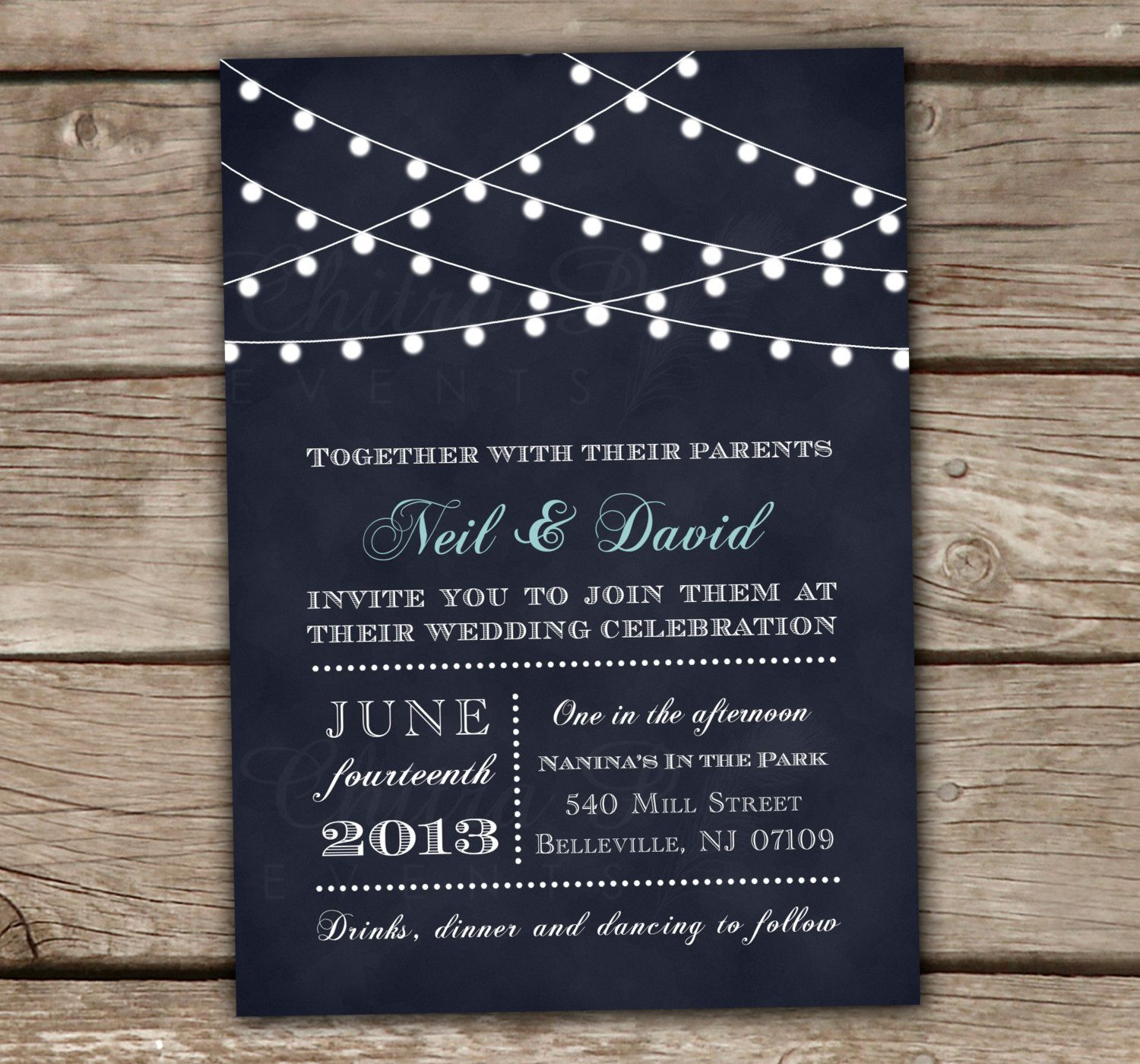 Navy Blue String Lights Wedding Invitations