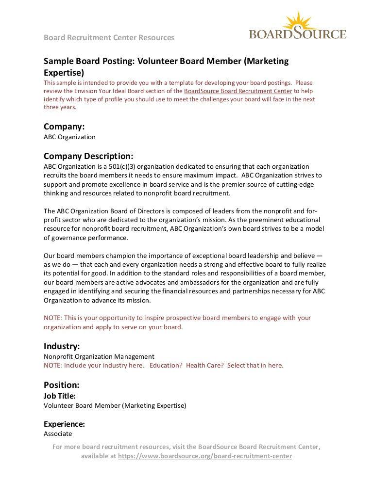 Board Recruitment Center Resources Sample Board Posting Volunteer Board Member Marketing Expert Recruitment Plan Marketing Plan Example Volunteer Recruitment