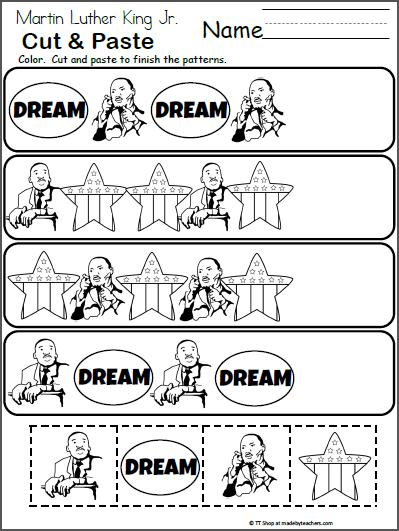 Martin Luther King Jr. Pattern Worksheet | Kindergarten Math | Pinterest