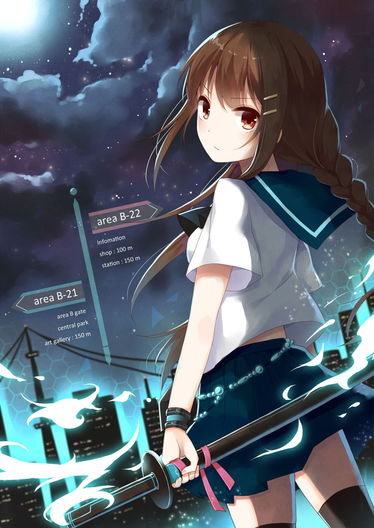 ANIME ART sword. . .katana. . .weapon. . .school uniform