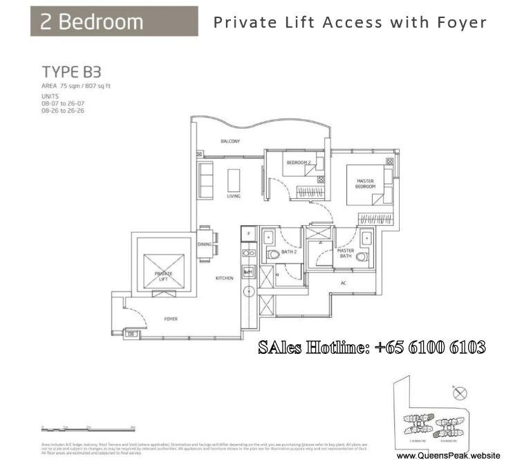Queens Peak Floor Plan 2 Bedroom B3