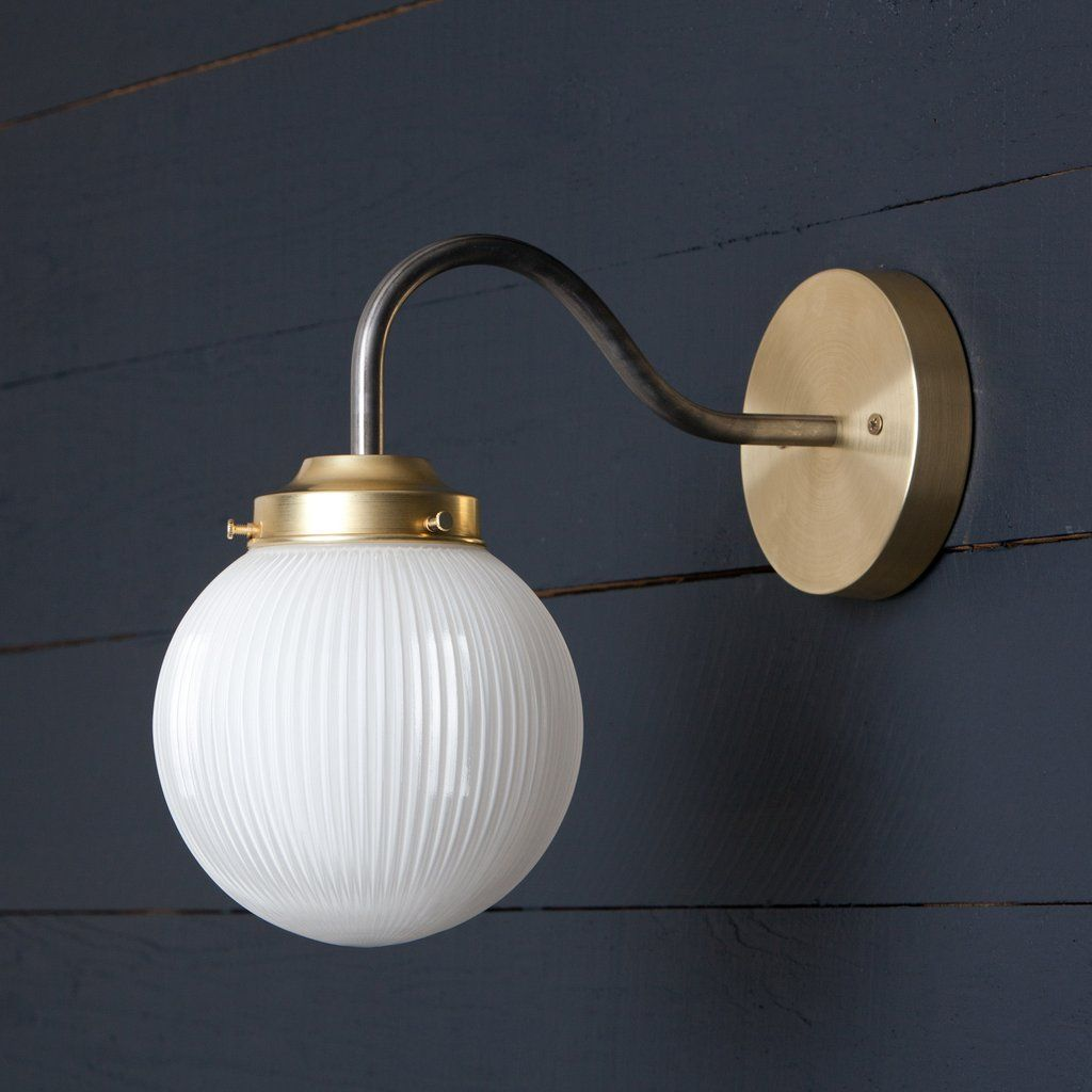 Photo of Gooseneck Holophane Glass Globe Wall Sconce