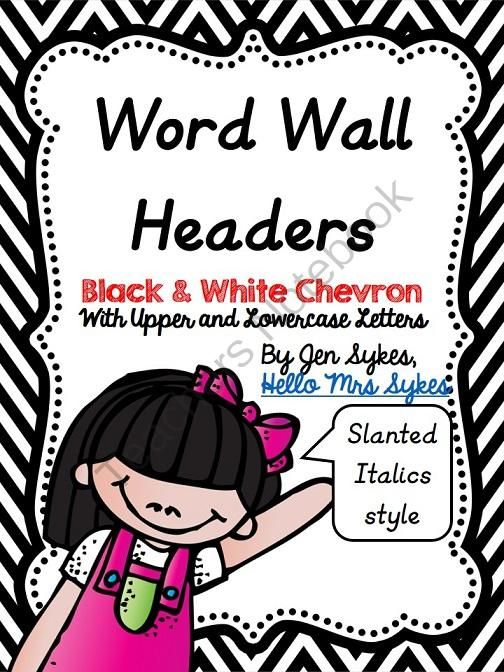 Round Chevron Word Wall Headers - Italics Print from HelloMrsSykes on TeachersNotebook.com -  (80 pages)  - Round Chevron Word Wall Headers - Italics Print D'Nealian