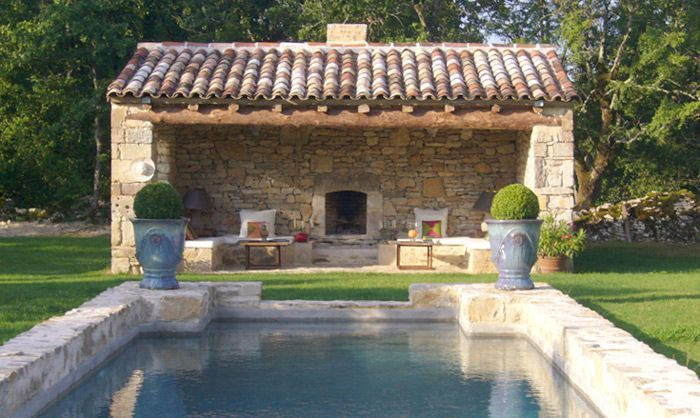 Lovely pool house and stone edge around pool outdoor for Pool design france