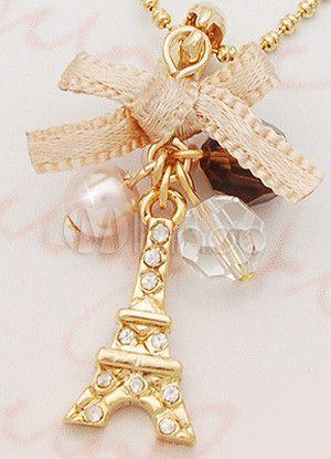Bonito arco de oro de la aleación Torre Eiffel moda collar de chicas…