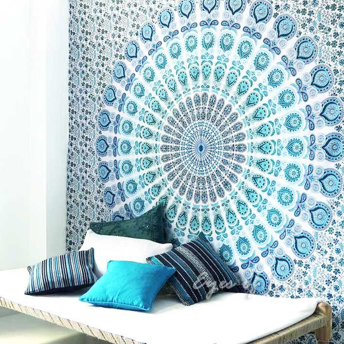 Double White Bohemian Mandala Tapestry Mandala Bedding Mandala Tapestry Bedroom Tapestry Bedroom Mandala Tapestry
