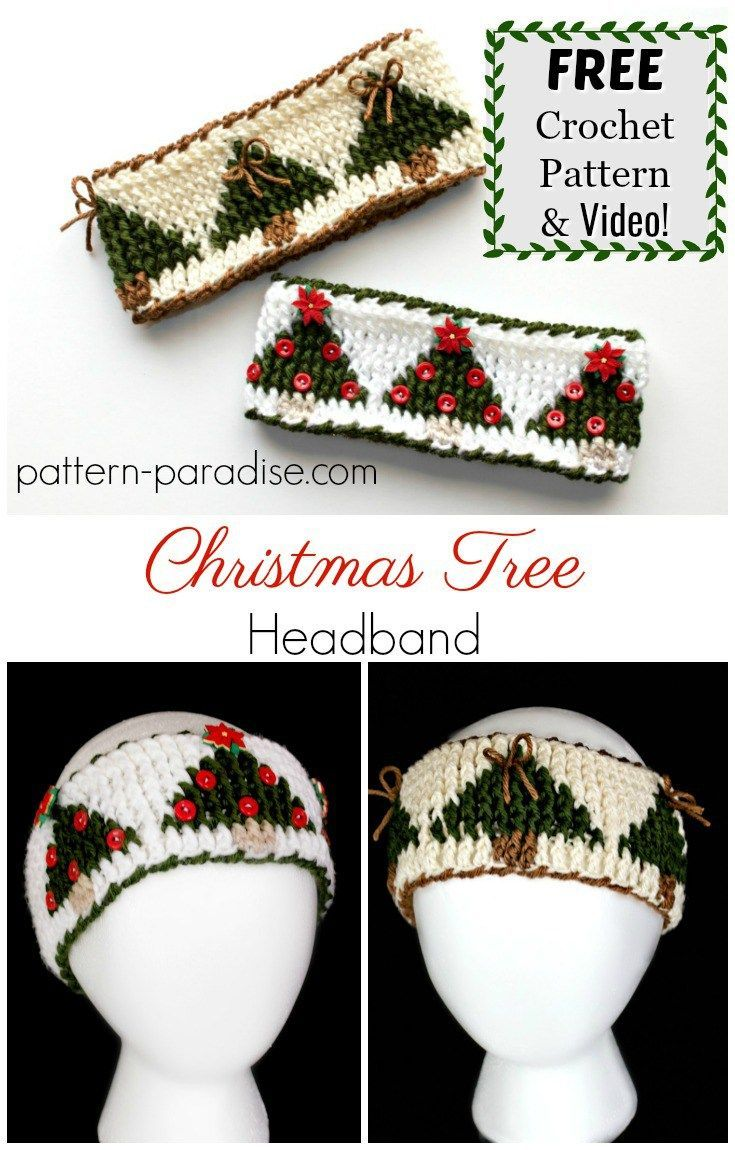Free Crochet Pattern: Christmas Tree Graph Headband | Red Heart ...