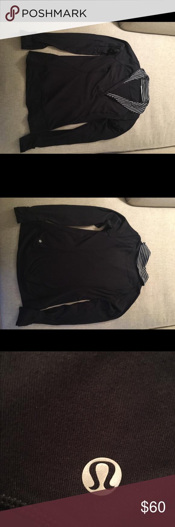 Lululemon 1/4 zip long sleeve Lululemon 1/4 zip long sleeve. Black with striped color, one zipper pocket on side. Very good condition. lululemon athletica Tops Sweatshirts & Hoodies