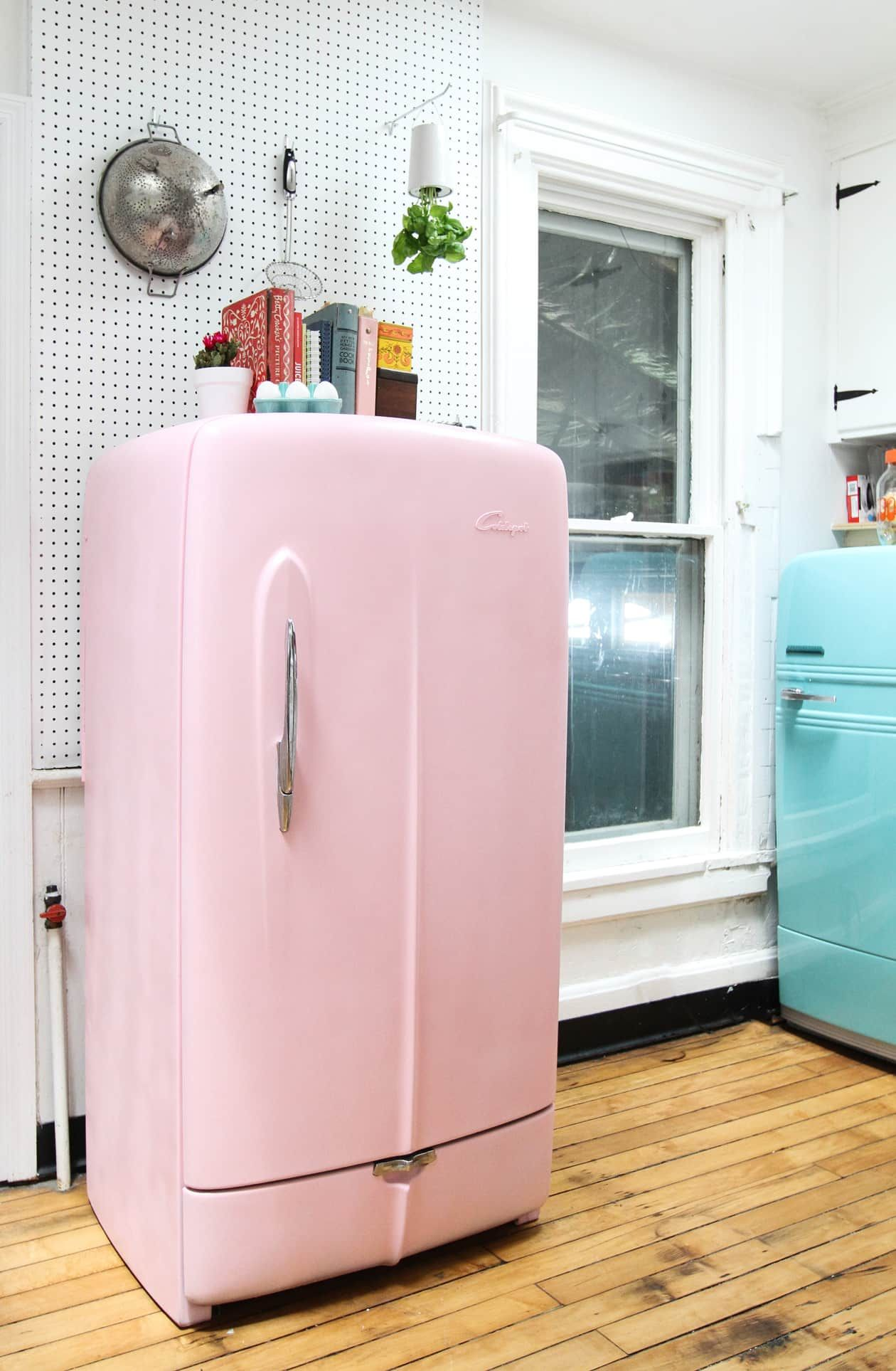 Wishing For A Colorful Smeg Fridge Here S How To Paint A Vintage Refrigerator Instead Vintage Refrigerator Smeg Fridge Cheap Appliances