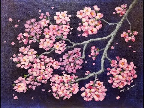 Impressionist cherry blossoms tutorial step by step for Simple cherry blossom painting