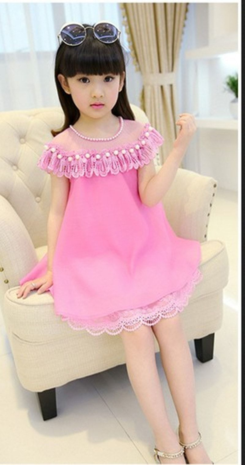 755ee13b6 Girls Princess Dress Children Clothing Kids Lace Dresses Baby Girl Party  Prom Pearl Dress