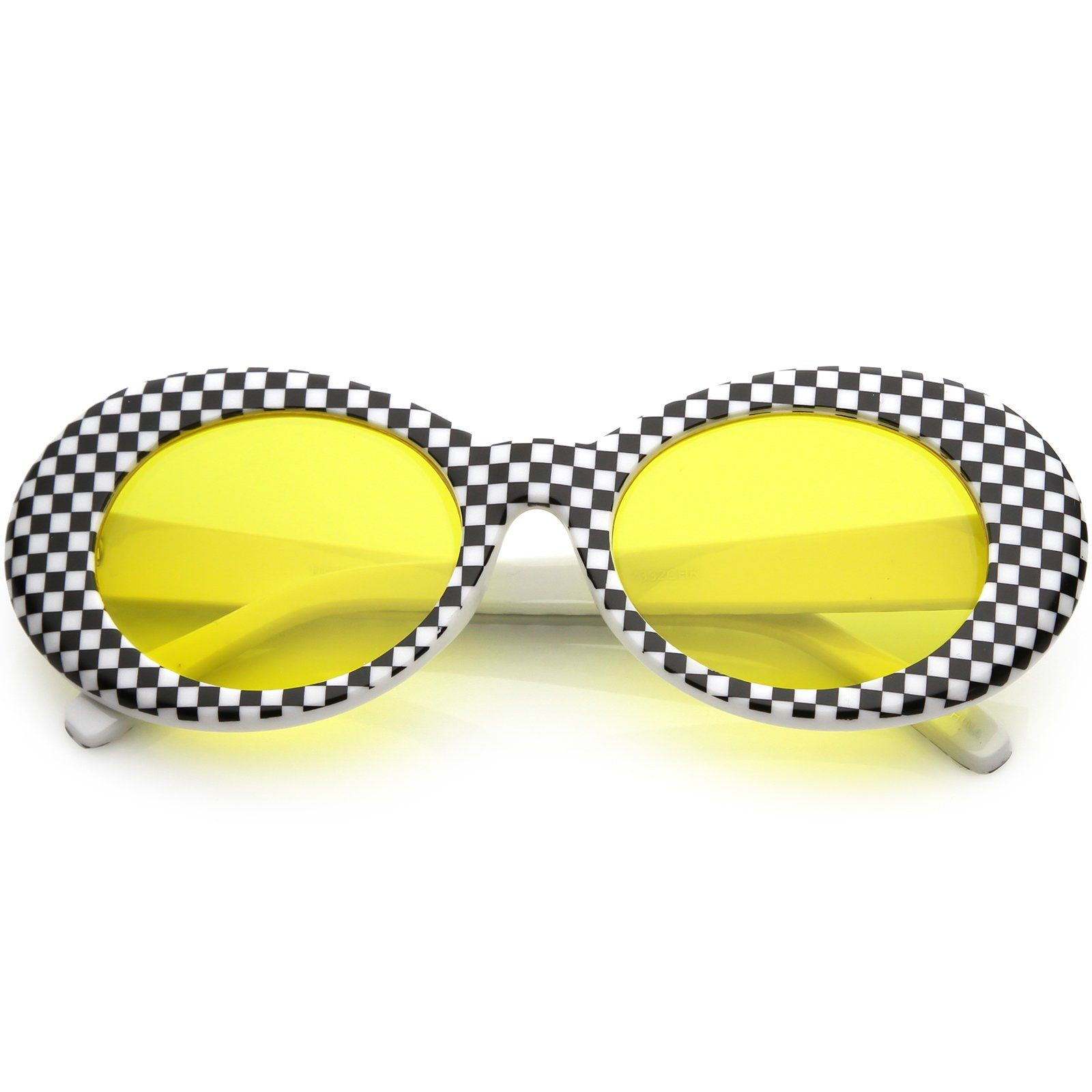 8e9dd96ee7d Large Retro Checkered Oval Sunglasses Thick Frame Colored Lens Wide Arms  53mm